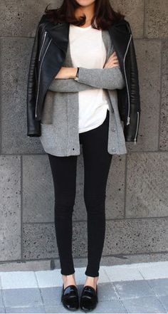Love this monochrome + leather pairing. Love grey, white, and black color combo.