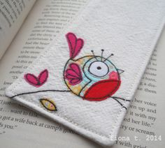 freehand embroidered bird fabric bookmark