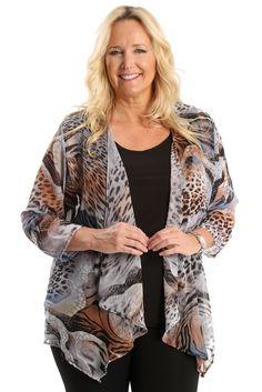 Vikki Vi Safari Sheer Swing Cardigan A great plus size piece for your holiday party.