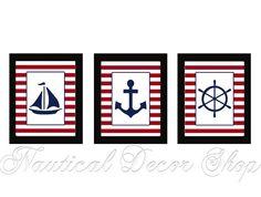 Nautical Nursery Sailboat Anchor Ship Wheel Sail Boat Wall Art Print Navy Blue Red Stripe Home Decor Set of 3 prints