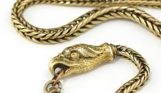 Antique Eagle's Head Watch Chain with Clasped Hand Fob, T-bar and Swivel Hook, Substantial, Detailed & Charming