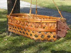 Rare Vintage Hanging Field Cradle Bassinet Basket