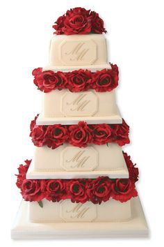 Square Wedding Cakes With Flowers