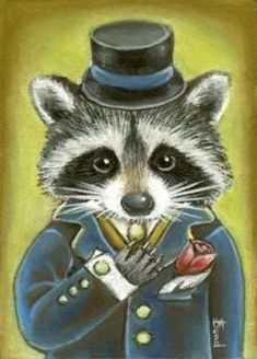 Mister raccoon getting married - and what a charming gentleman he is - ORIGINAL oil pastel ACEO fantasy PAINTING by Tanya Bond