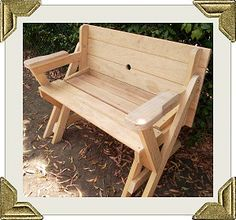 folding picnic table to bench seat - free plans, how awesome is this!!!