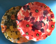 Vintage Fab tray floral trays, set of 2, 60s decor Trays, Orange, Tableware, Floral, Fabric, Red, Pink, Etsy, Vintage
