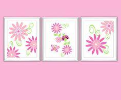 Baby Nursery Pink Green Wall Art Little Girls by dezignerheart, $25.00