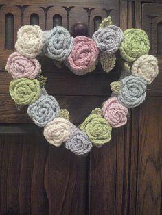 Crochet heart wreath