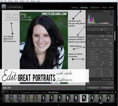 edit great portraits with adobe lightroom- get to know what to use in your toolbar to make facial features stand out!