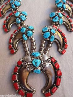 NAVAJO Sterling Silver Turquoise Coral & Faux Bear Claw SQUASH BLOSSOM NECKLACE | Jewelry & Watches, Ethnic, Regional & Tribal, Native American | eBay!