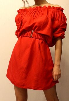 Off shoulder dress with ruched bodice and detachable elastane belt, wear with heels and clutch to attend upcoming party, total 2 colors Red and Blue.