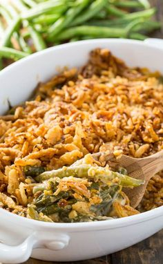 Cheesy Green Bean Casserole - super creamy with a fried onion topping.