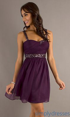 Might be a bit short for a wedding, but also might be something a bridesmaid could wear again. Short Sleeveless Purple Party Dress at SimplyDresses.com