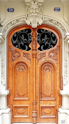 Ornately carved old doors in Paris