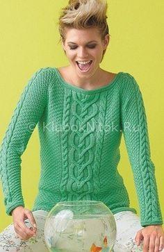 Зеленый пуловер с аранами   Вязание для женщин   Вязание спицами и крючком. Схемы вязания.