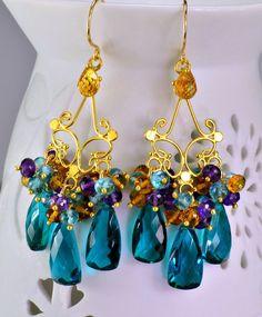 Multi Gemstone Chandelier Earrings Quartz Citrine Amethyst 14k Gold Fill Wire Wrapped Earrings by skyvalleyjewelry on Etsy https://www.etsy.com/listing/223934978/multi-gemstone-chandelier-earrings