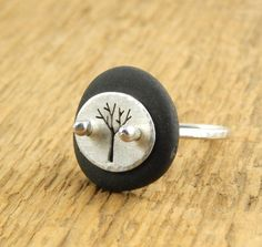 Tree ring, beach stone ring with sterling silver tree, hand-cut silver ring, Lake Superior beach stone unique ring, ready to ship.