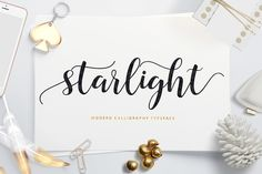 Starlight Script - a new fresh & modern script with a handmade calligraphy style, decorative characters and a dancing baseline! So beautiful on invitation like greeting cards, branding