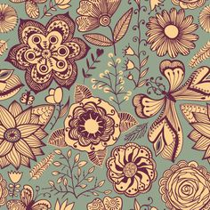 Summer patterns by Pridumala , via Behance   Pretty pattern!