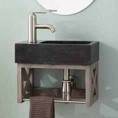 "16"" Ansel Teak Wall-Mount Vanity with Towel Bar & Stone Sink - Gray Wash"