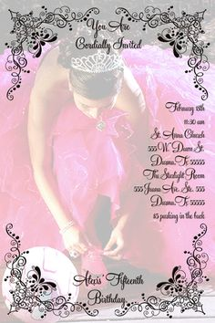 Quinceañera Invitation Personalized with your por kreativekreations