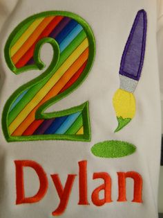 Age Number  Birthday - Art Party T-Shirt Customized and Monogrammed by Sew Jewell