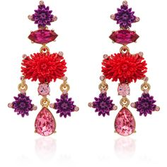 Oscar de la Renta     Hyacinth Dahlia Drop C Earrings (5.810 ARS) ❤ liked on Polyvore featuring jewelry, earrings, red, rose jewellery, coral pendant, pendant earrings, rose earrings and red jewelry