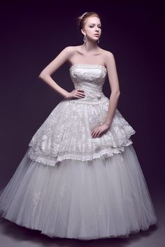 Vintage Lace Overlay Ball Gown Wedding Dress