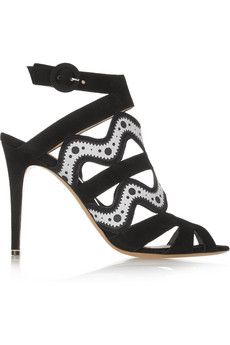 Nicholas Kirkwood Suede and printed leather sandals | THE OUTNET
