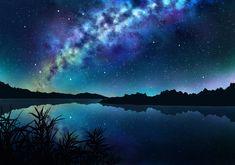 dark grass jpeg_artifacts landscape night nobody original reflection scenic sky stars tagme_(artist) water