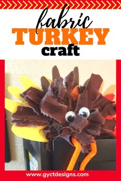 Create your own turkey for Thanksgiving and fall with just a few fabric scraps and paper. A great project to do with toddlers, preschoolers and school age children. Diy Crafts For Kids Easy, Craft Activities For Kids, Preschool Crafts, Kid Crafts, Kids Diy, Fabric Scraps, Scrap Fabric, Turkey Craft, Thanksgiving Crafts