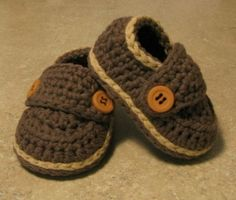 Baby Boy Little Button Cotton Loafers Sizes  Newborn by LandyKnits, $20.00