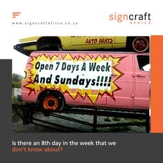 Maybe there is an 8th day in the week that we don't know about. If so, we've been missing out on a lot of extra weekend days. Make sure you get your signage right every time, call Signcraft Africa on 011474 1315 or email us at info@signcraftafrica.co.za #CEOCircle #signagedesign #signcraftafrica #ourportfolio #brandguidelines #ledsign #signboard #signboards #businesssign #previouswork #wayfinding #vinylgraphics #windowgraphics #vinyllettering #wallgraphics #businesssigns #signmaking #custom Weekend Days, Window Graphics, Brand Guidelines, Signage Design, Business Signs, Vinyl Lettering, Africa, Window Stickers, Afro