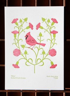 Ohio state bird (Cardinal) and flower (Scarlet Carnation) print $15