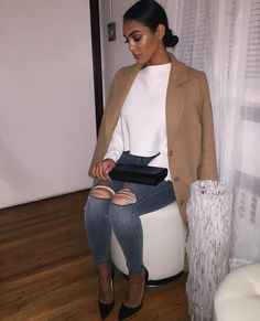 fashion, style and outfit, ripped jeans, high heel, camel coat Mode Outfits, Fashion Outfits, Womens Fashion, Fashion Trends, Fashion Killa, Look Fashion, 90s Fashion, Daily Fashion, Fall Winter Outfits