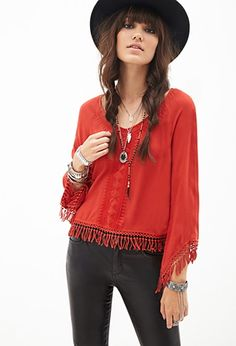 Fringed Peasant Top | Forever 21 - 2000100438