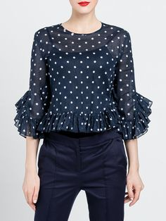 Shop Blouses - Navy Blue Polka Dots Statement Ruffled Blouse online. Discover unique designers fashion at StyleWe.com.