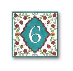 This House Numbers sign with Bees, Flowers and Pomegranates is Hand Painted Ceramic Tile and is beautiful as it is functional. The Address
