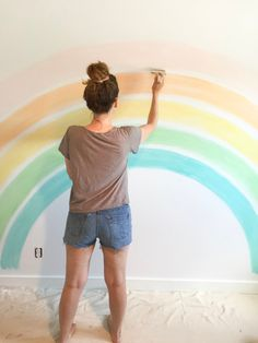 Rainbow Wall Mural Tutorial Recap — The Ruby Thursday Collective Rainbow Bedroom, Rainbow Room Kids, Rainbow Nursery, Girl Bedroom Walls, Bedroom Themes, Bedroom Ideas, Rainbow Wallpaper, Toddler Rooms, Little Girl Rooms