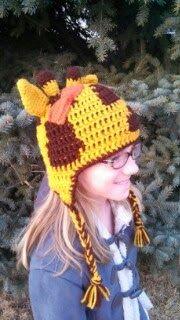 Frederick's Fancies: Custom Animal Hats, giraffe hat with bow, giraffe knit/crochet hat