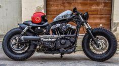 harley-davidson sportster beige and black Sportster Cafe Racer, Hd Sportster, Harley Davidson Sportster 883, Harley Bobber, Harley Davidson Motorcycles, Harley Bikes, Retro Motorcycle, Bobber Motorcycle, Cool Motorcycles
