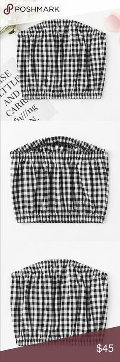 Checkered Tube Top From Boutique in Boston  •Polyester •Length 10.2 inch  •Bust 28.6-40.2 inch Tops Blouses