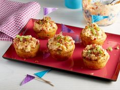 Pimento Cheese Cakes: Instead of cupcakes, serve these savory hand-held treats that feature a moist cornbread topped with Gina Neely's homemade pimento cheese spread.