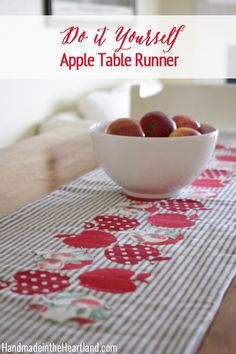 Quilted Apple Table Runner, such a fun sewing crafts project to add to your fall home decor. Full tutorial and instructions on how to make it!