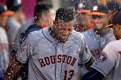 Shake it off -   Domingo Santana of the Houston Astros is doused with water while celebrating his home run against the Los Angeles Angels on June 22 in Anaheim, Calif.  -  © Jae C. Hong/AP Photo