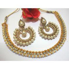 White stone tilak pearl polki necklace set