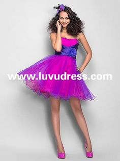 A-line Princess Sweetheart Short/Mini Tulle And Stretch Satin 2015 Homecoming Dress