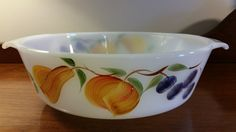 Anchor Hocking Fire King Gay Fad Fruit White Glass Casserole Dish Ovenware 1-1/2 qt