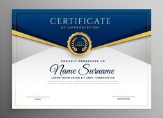 Elegant blue and gold diploma certificate template Free Vector Certificate Layout, Blank Certificate Template, Certificate Of Achievement Template, Degree Certificate, Printable Certificates, Certificates Online, Certificate Images, Birth Certificate, Certificate Of Appreciation
