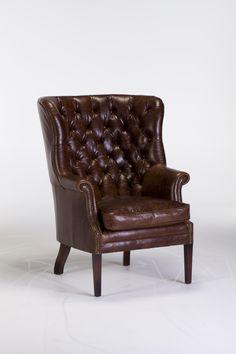 The Harris Tweed MacKenzie Chair in Leather #barkerandstonehouse #harristweed #armchair #vintageinspired